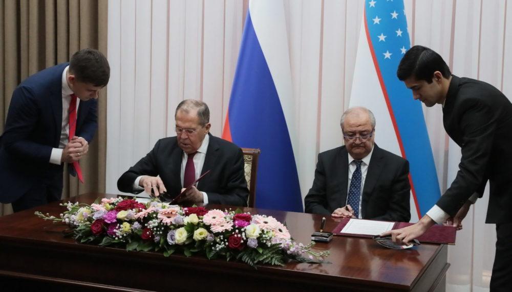 Встреча глав МИД РФ и Узбекистана